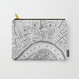 Vintage Map of New Orleans (1880) BW Carry-All Pouch
