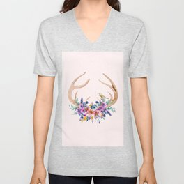 Antlers with Flowers Unisex V-Neck
