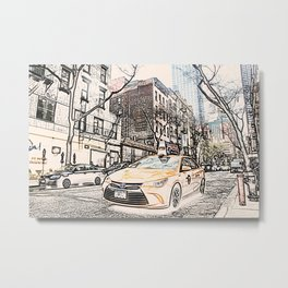 Taxi New York City Usa Street ArtWork Painting Metal Print