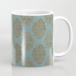Baroque Birds Pattern - Blue Tan Brown Coffee Mug