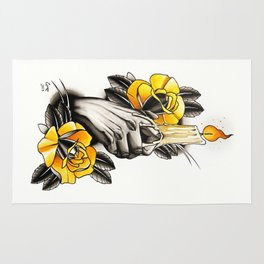 Hand holding CANDLE - tattoo Rug