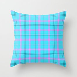 bright blue and pink plaid Throw Pillow