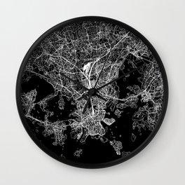 Helsinki Black Map Wall Clock