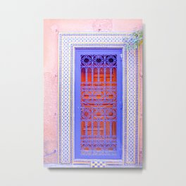Colorful Moroccan Door in Marrakech Blue and Purple Metal Print