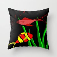 scuba Throw Pillows featuring Scuba by Happy Fish Gallery