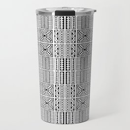 Black and White Geometric Hawaiian Kapa Cloth Travel Mug