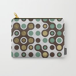 Geometric Pattern - Teal, Wood and Golden Texture Carry-All Pouch
