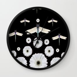 SURREAL WHITE DRAGONFLIES FLOWERS BLACK COLOR PATTERNS Wall Clock