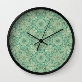 Aqua Golden Mandala Wall Clock