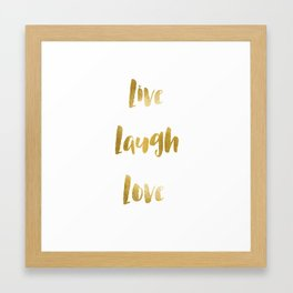 Live. Laugh. Love Gold Print Framed Art Print
