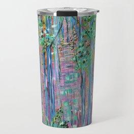 Teal Blue Abstract Forest Landscape, Forest Secrets, Fantasy Fairy Art Travel Mug