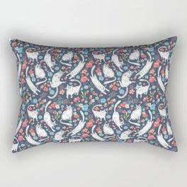 Cat and flowers pattern Rectangular Pillow