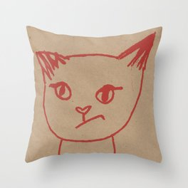 Cranky Kitty by Brit Hunter Throw Pillow