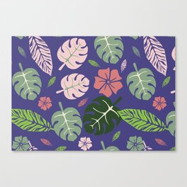 Tropical leaves Purple paradise #homedecor #apparel #tropical Canvas Print