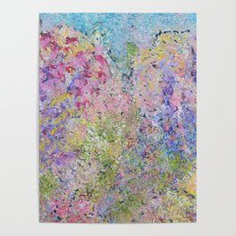 Spring Hydrangeas, Pastel Abstract, Modern Painting Poster