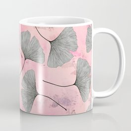 botanical biloba drawing pattern on pink watercolor marble Coffee Mug