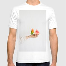 Parrot and watermelon MEDIUM White Mens Fitted Tee