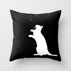 Cat and Laser Cute Minimalistic Animal Portrait Throw Pillow