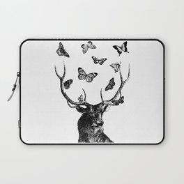The Stag and Butterflies   Black and White Laptop Sleeve