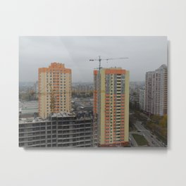 Construction of a multi-storey residential building, new building Metal Print