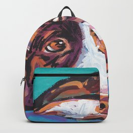 fun Border Collie Dog bright colorful Pop Art painting by Lea Backpack