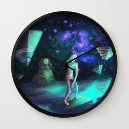 The Aliens Attack The Egyptian Pyramids  Wall Clock