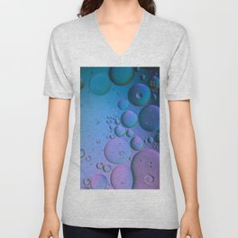 Multicolored abstract background picture made with oil, water and soap Unisex V-Neck