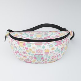 Owls and flowers, for owls lovers, owl bird lover Fanny Pack
