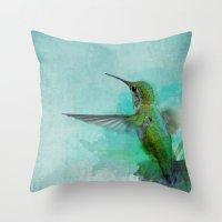 hummingbird Throw Pillows featuring Hummingbird by Marvelis