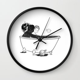Love in bath tube. Wall Clock