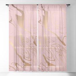 Pink Gold Liquid Marble Sheer Curtain