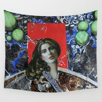 doberman Wall Tapestries featuring Red girl by Кaterina Кalinich