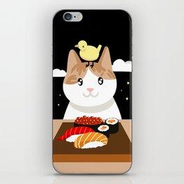 Sushi Eating Cat & Bird iPhone Skin