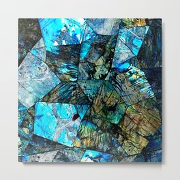 Blue & Green Iridescent Mineral Surface Metal Print