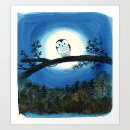 """""""Owl Sees Owl"""" cover illustration Art Print"""