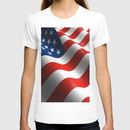 Patriotic US Waving Flag  T-shirt