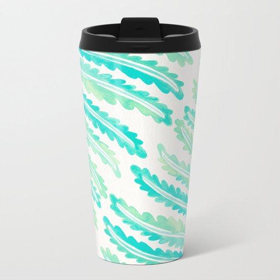 Fern Leaf – Turquoise Palette Metal Travel Mug