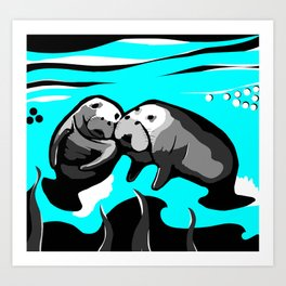Manatee Love in blue Art Print