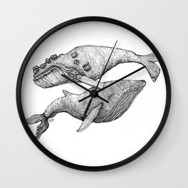 A Couple Of Whales  by Michelle Scott of dotsofpaint studios Wall Clock