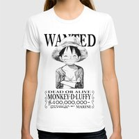 luffy T-shirts featuring WANTED - Luffy White by josemaHdeH