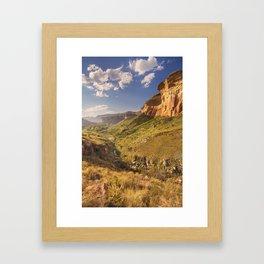 Golden sunlight over the Golden Gate Highlands NP, South Africa Framed Art Print
