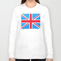 british flag Long Sleeve T-shirts featuring Rough And Worn British Union Jack Flag by Mark E Tisdale