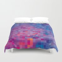 pixel Duvet Covers featuring Pixel by Marta Olga Klara