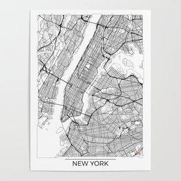 New York City Neutral Map Art Print Poster