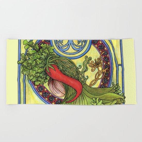 Art nouveau. Spices and vegetables Beach Towel