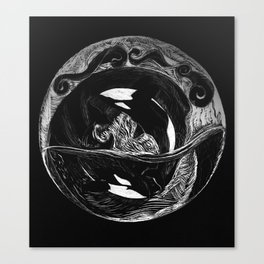 Orca Flow black-and-white Canvas Print