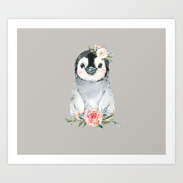 Penguin with Rose Art Print
