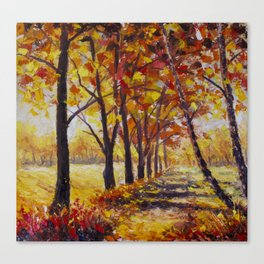 Sunny autumn landscape  - Palette Knife Oil Painting On Canvas By Valery Rybakow  Canvas Print