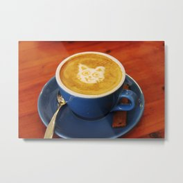 Coffee and Cats-A cat face in a coffee design Metal Print