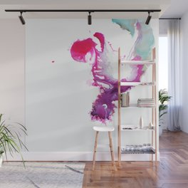 Happiness Now Abstract Watercolor Painting Wall Mural